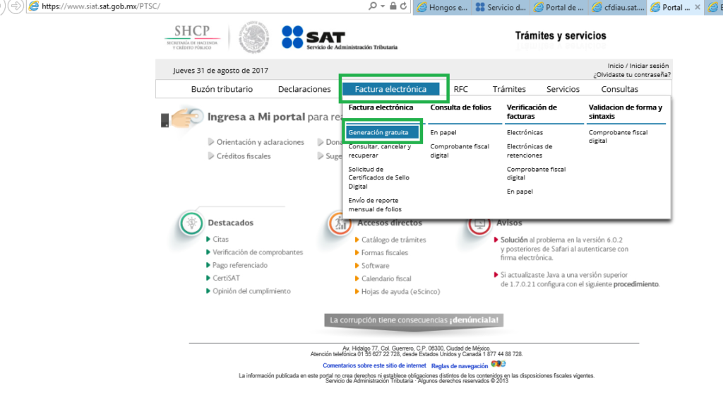 Facturar Gratis en Portal del SAT
