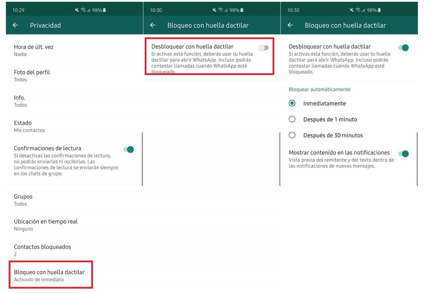 El bloqueo con huella dactilar de chats de WhatsApp llega a Android